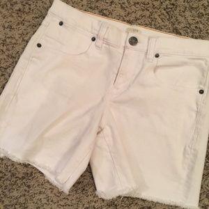 J. Crew White Stretch Denim Women's Cutoff Shorts
